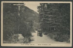 Bar-Harbor-ME-c-1917-Postcard-THE-GORGE-DRIVE-In-Acadia-Park-Horse-amp-Carriage