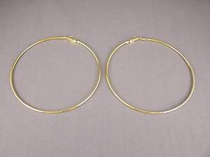 Details About Gold Tone Huge 3 7 8 Wide 9 8cm Large Hoops Earrings Thin 2mm Wire Hoop