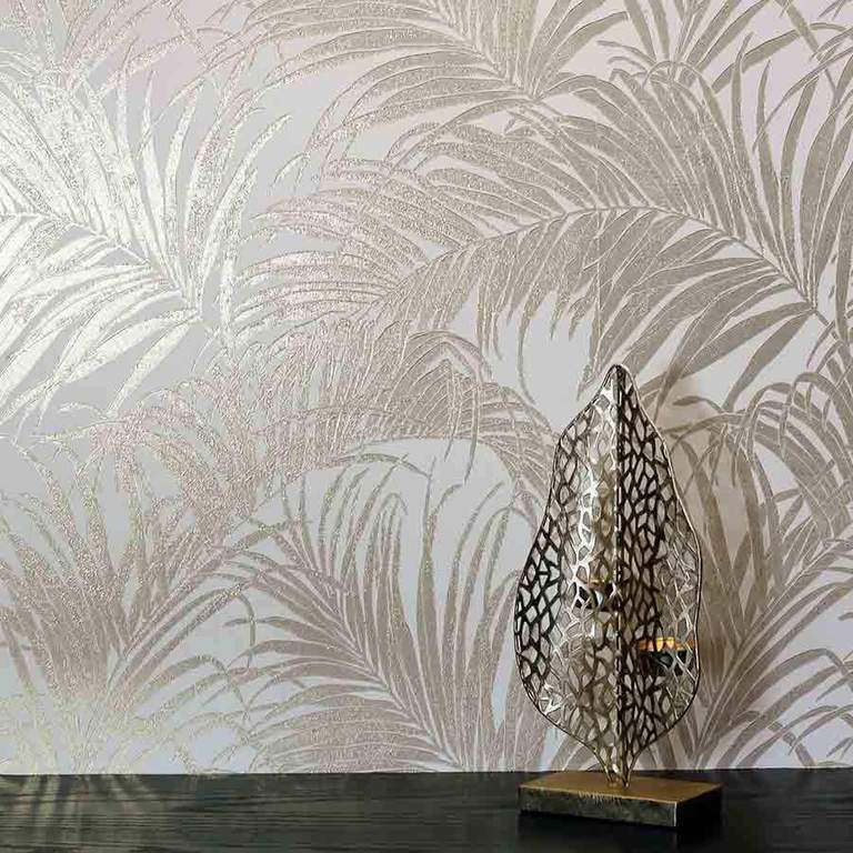 Fine Decor South Beach Blush Wallpaper FD42680 Tropical Jungle Palm Leaf
