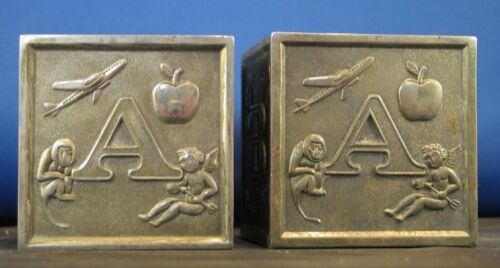 "2 Vintage 3"" Metal ABC Letter Animal Block Silverplate? Baby Piggy Coin Bank"