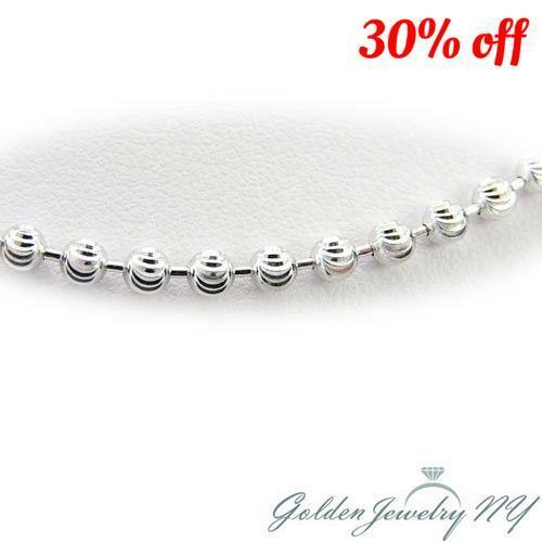 Rhodium Plated Sterling Silver 2mm Diamond Cut Moon Round Beads Chain Necklace
