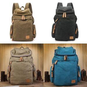 HOT Large Men Women Rucksack Back Pack Bag Outdoor Travel Hiking Canvas Backpack