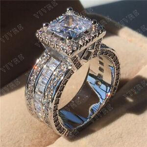 3-00-Ct-Princess-Cut-Diamond-10k-White-Gold-Heavy-Engagement-Wedding-Band-Ring