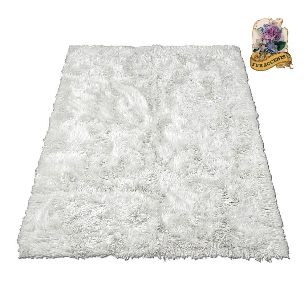 Fur Accents Decors Soft Sheepskin Shag Faux Fur Area Rug bianca Rectangle 5 x 8