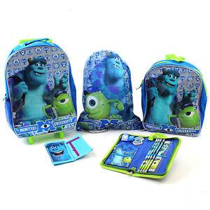 Kids Luggage Set Monsters University School Holiday Suitcase Backpack Gym Bag