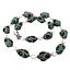 """thumbnail 1 - Cultured White Rice Pearl Green Agate Black Rhinestone Pave Necklace 32"""""""