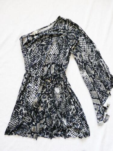 Bnwt nouvelles LIPSY Imprimé Noir Draper une manche Angel belted Clubbing robe de soirée