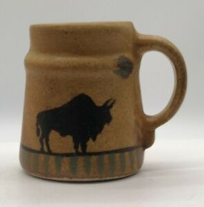 Vintage Studio Pottery Stoneware Coffee Mug Tan Painted Buffalo 12oz