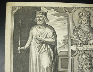 Engraving-King-de-France-Roy-Grapeseed-the-Brief-Charlemagne-Xviie-18th-C-1700