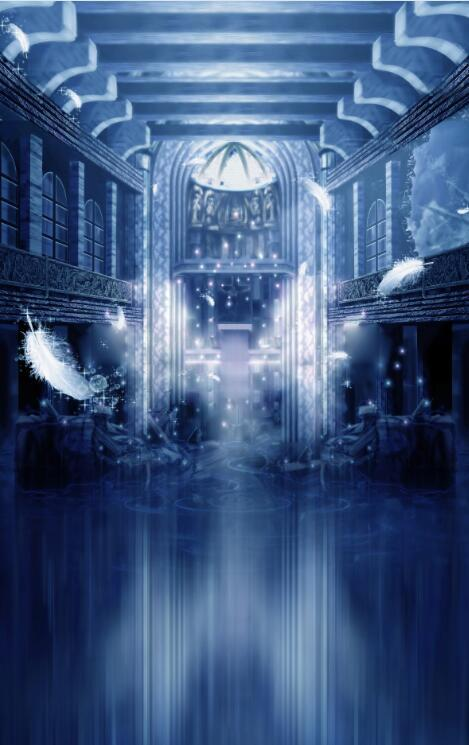 3D Feather Castle Blau Wall Paper Wall Print Decal Wall Deco Indoor wall Mural