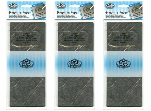 """3 packs 18"""" x 36"""" Sheets Grey Graphite Artist Trace Down Transfer Paper RD203"""