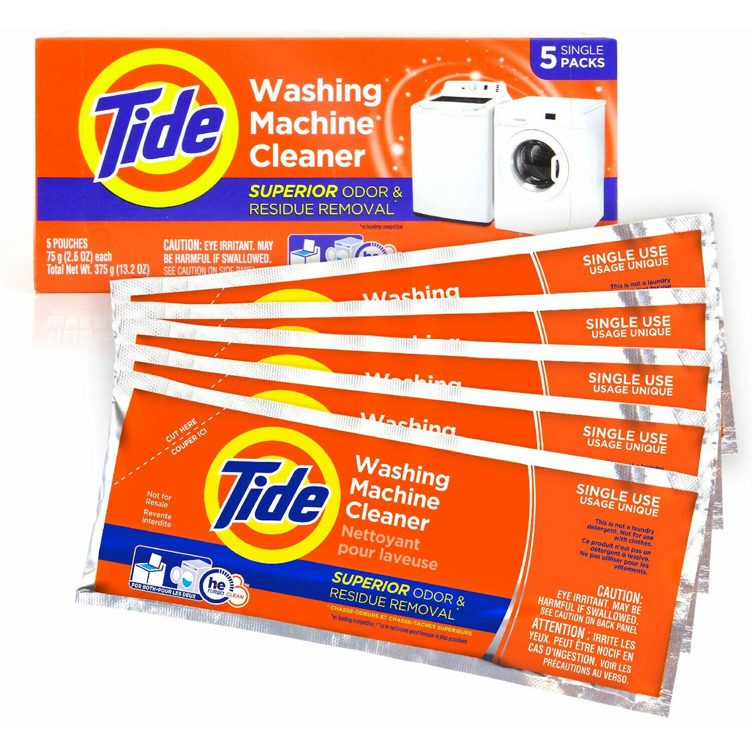 Washing Machine Residue Cleaner Tide Washer Cleaning Detergent Single Use 5 Pcs