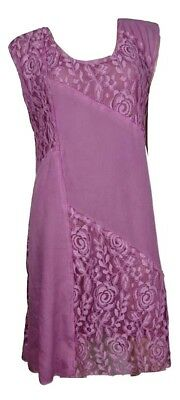 PRETTY ANGEL SIZE S  L  ROSE LINEN AND LACE DRESS 62768 FS