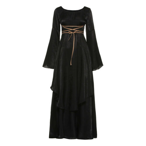 Halloween Dress Gothic Costume Gown Long Sleeve For Women Solid Vintage.