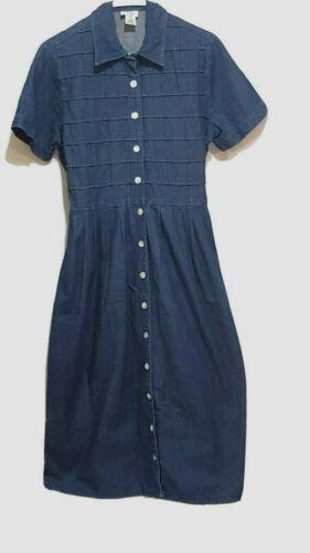 Vintage Denim Shirt Dress Women's 8 Short Sleeve M