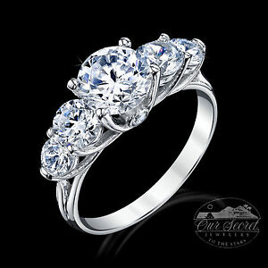 1.5 Ct Three Stone Plus Ring Top Cz Sterling Silver Sz 8 Other Fine Rings