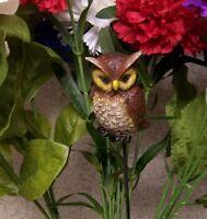 "Garden Decor Flower Pot Plant Pick Stake Owl 15"" Tall"