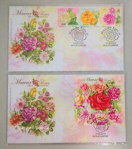 MALAYSIA-Roses-2nd-Series-2014-Stamp-amp-Miniature-Sheet-FDC