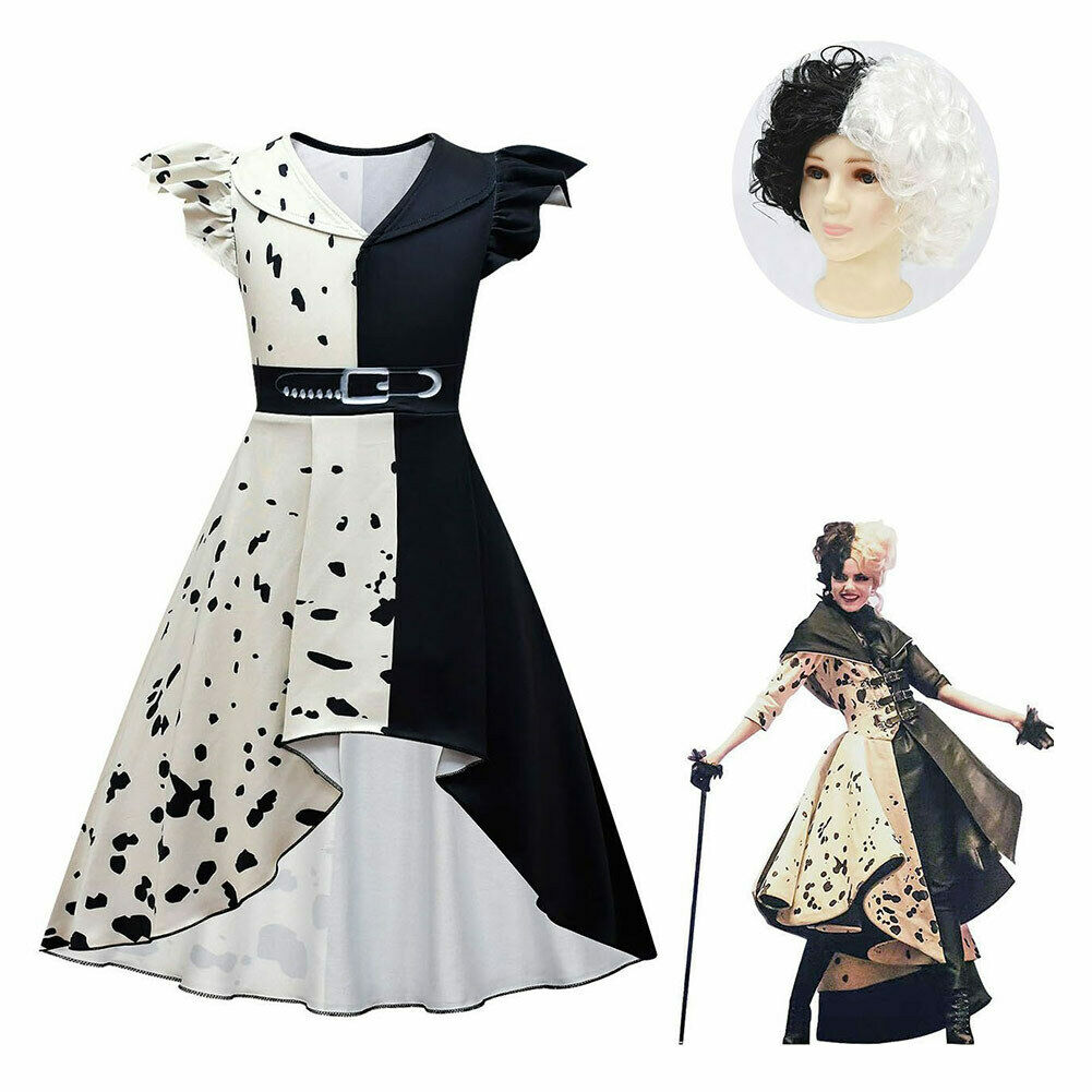 Kids Cruella Cosplay Costume Dress Wig Halloween Suit Girls Costume Outfit Gift