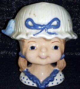 Vintage-Ceramic-Girl-Wearing-a-Blue-Bonnet-Hat-Head-Vase-Or-Planter-Unbranded