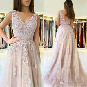 Elegant-V-Neck-Prom-Dresses-Applique-Lace-Wedding-Party-Bridesmaid-Evening-Gown