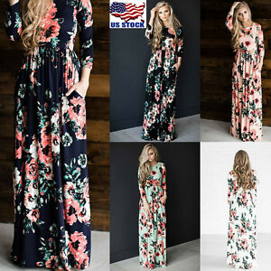 Details about US Women Floral Printed Long Sleeve Boho Evening Party Long  Maxi Dress Plus Size