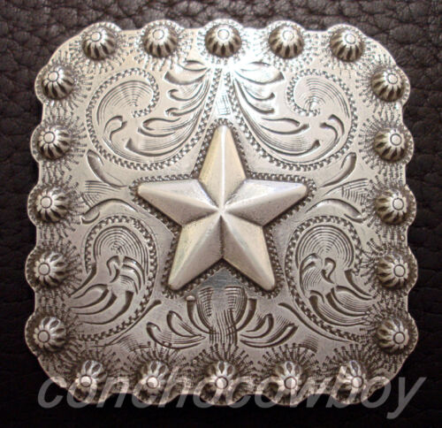 "WESTERN SADDLE HEADSTALL TACK ANTIQUE STAR BERRY SQUARE CONCHO 1/"" screw back"