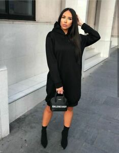 Women-New-Ladies-Black-Hoody-Hooded-Dress-Jumper-Long-Comfy-Lounge-8-18