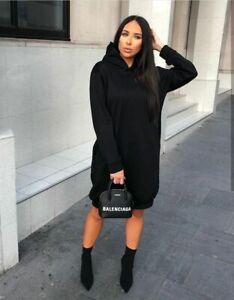 Women-New-Ladies-Black-Hoody-Hooded-Dress-Jumper-Long-Comfy-Lounge-8-18