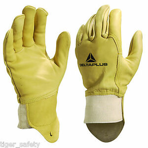 X5 Pairs Delta Plus Venitex Fb149 Yellow High Quality Full Grain Leather Gloves Work Gloves Yard, Garden & Outdoor Living