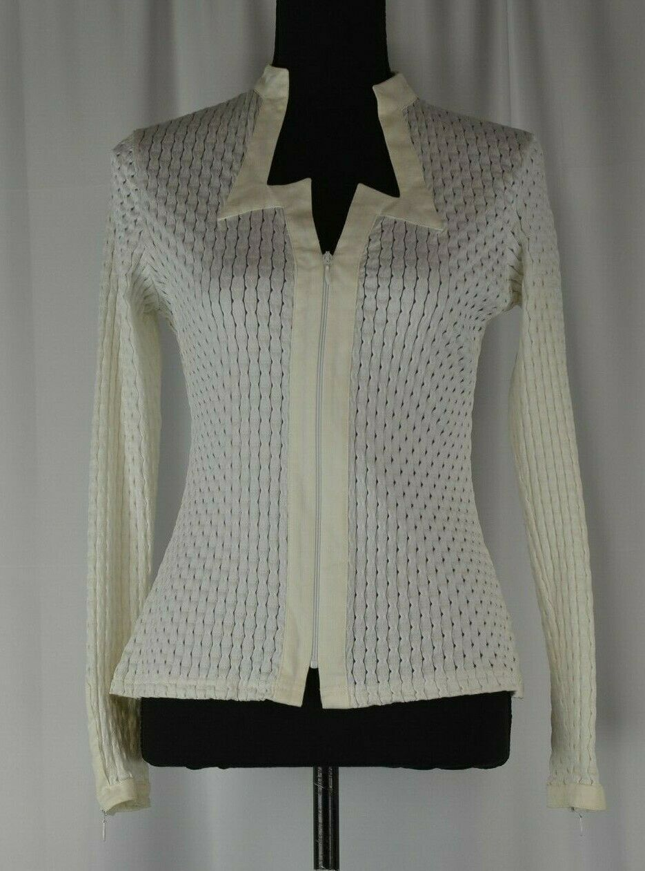 Anne Fontaine Woherren Shirt Jacket Größe 2 Blouse Full Zip Perforated Boho Cute