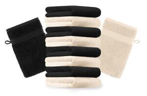 Betz-Set-di-10-guanti-da-bagno-Premium-misure-16-x-21-cm-100-cotone-beige-e-ner