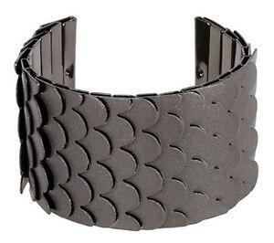 Wendy-Williams-Textured-Snake-Scale-Style-7-1-4-034-Gunmetal-Bracelet-Cuff-QVC