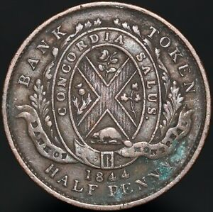 1844-Canada-039-Bank-Of-Montreal-039-Sou-Half-Penny-Token-Tokens-KM-Coins