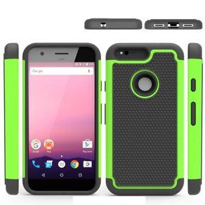 Google-Pixel-Trekking-Handy-Tasche-Hybrid-Football-Grain-Gummiert-Cover-Gruen