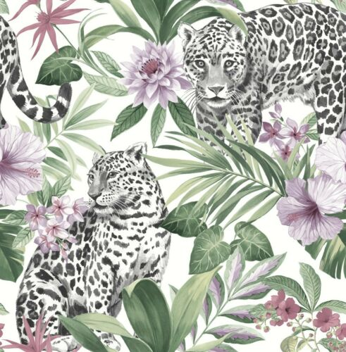 Fine Decor Tropica Leopard Animal Floral Feature Wallpaper FD42470