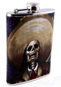 De-La-Luna-Day-of-the-Dead-Borracho-Skull-Liquor-Flask-8-Ounce-Tequila-Flask