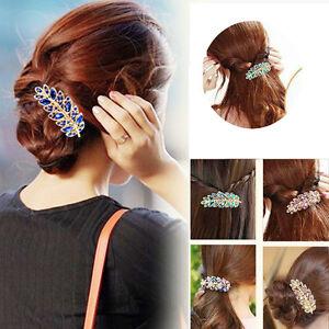 Filles-Accessoires-Cheveux-Clips-Feuille-Cristal-Strass-Barrette-epingle-a-cheveux-Bandeau