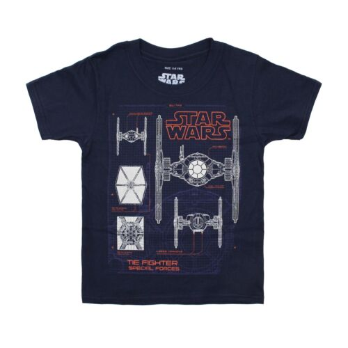 Star Wars Official Boys Navy Tie Fighter Schematics Kids T-Shirt