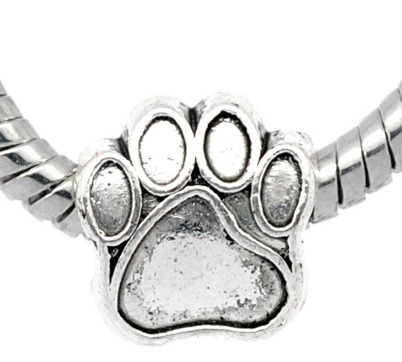 Silver Plated Dog Cat Pet Paw Print Slider Large Hole Bead Charm fits Bracelets