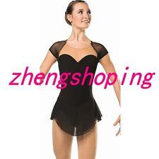 Plain Black Figure  Skating Dress Women's Girls   Dress 8807-2