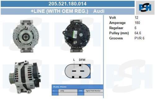Lichtmaschine Audi 180A 205.521.180.014 mit Original Bosch Regler