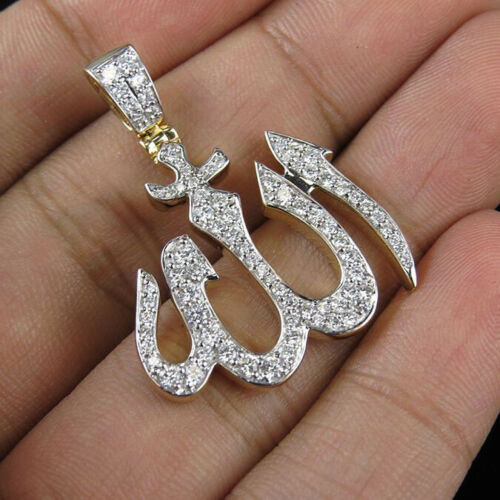 Natural 1.02 Ct Pave Diamond ALLAH Sign Pendant 925 Sterling Silver Jewelry