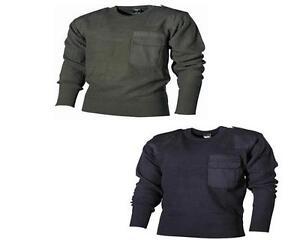 MFH-BW-Bundeswehr-Pullover-Arbeitspullover-Pulli-Strick-oliv-blau-Gr-48-56-Neu