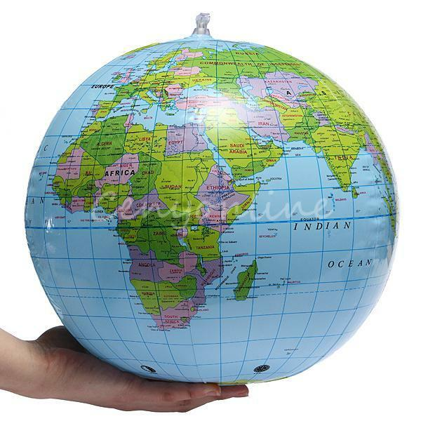 Inflatable Blow Up World Globe 38CM Inflate Earth Atlas Ball Map Geography Toy