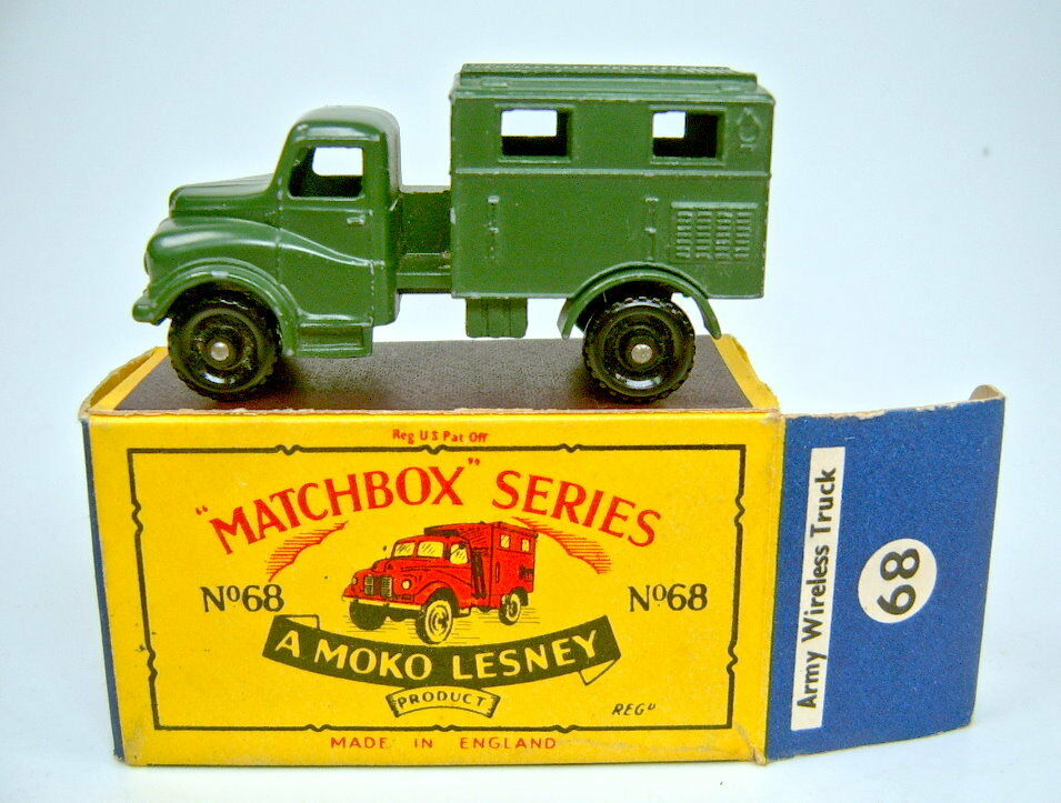 Matchbox regular Wheel 68a Army Wireless Truck en  b4  Moko Box