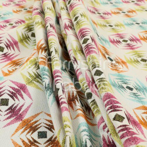 Multi Colour Pink Blue Orange Modern Sharp Geometric Pattern Upholstery Fabric