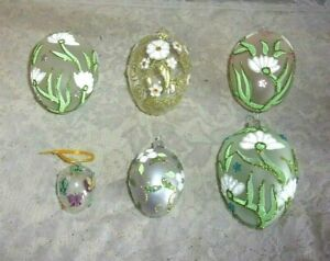 Details About Six Hand Blown And Decorated Frosted And Crystal Embossed Easter Eggs
