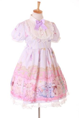 JSK-47 Lila Teddy Hase Rabbit Grafik kurzarm Kleid Lolita Cosplay Kostüm Kawaii