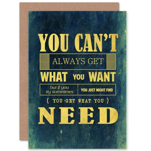Rolling Stones Music Lyric Typography Blank Greeting Card With Envelope